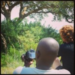 Sam wilde ook even een foto maken van de tree climbing lions