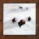 Bizons in de sneeuw (60*60: doek, 70*70 lijst)